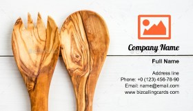 Wooden Kitchen Utensils Business Card Template