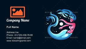 Mermaid. with a fish tail Business Card Template