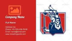 Statue of Liberty Wielding Sword and Scales Business Card Template