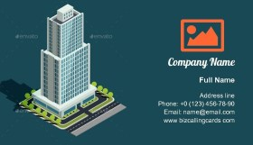 Illustration building of skyscraper Business Card Template