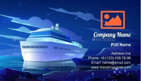 Cruise Liner in Ocean Business Card Template