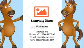 Funny horse with poster Business Card Template