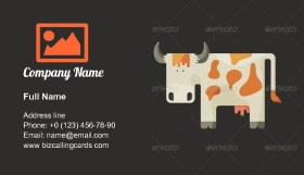 White cartoon cow Business Card Template