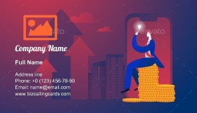 Businessman Sitting on Money Business Card Template