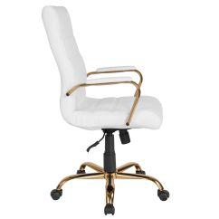White Leather Swivel Desk Chair Cabbage Nendo Design High Back Go 2286h Wh Gld Gg Bizchair Com