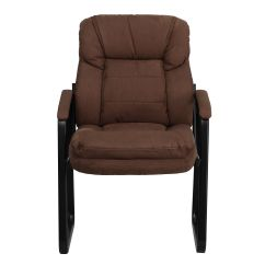 Brown Office Guest Chairs Chair Mat Walmart Microfiber Side Go 1156 Bn Gg Bizchair