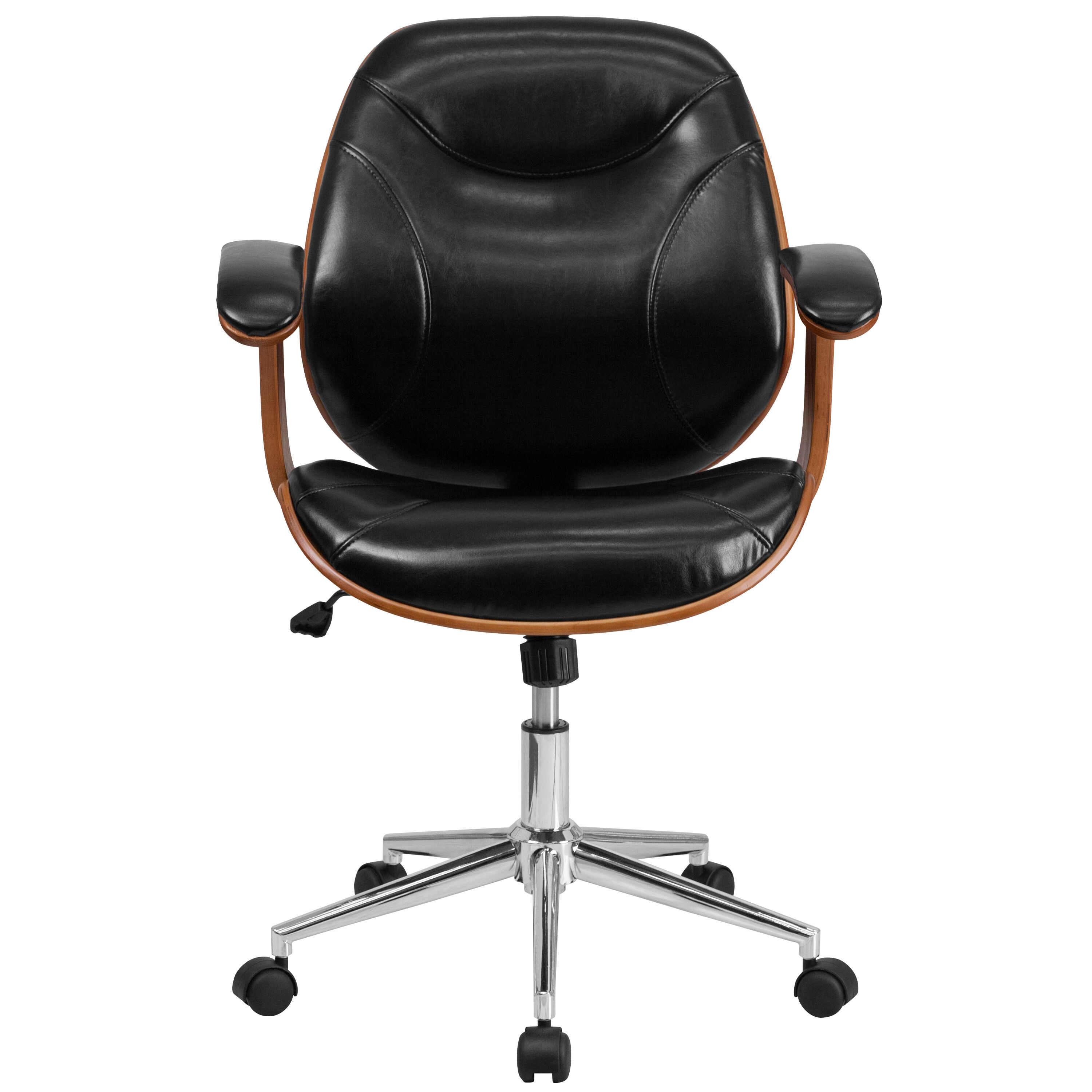 wood and leather executive office chairs peacock color chair black mid back sd sdm 2235 5 bk gg bizchair com our ergonomic swivel with arms is on