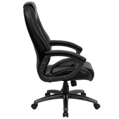 Leather Chair Cleaner With Lumbar Support Flash Furniture Go-7145-bk-gg   Bizchair.com