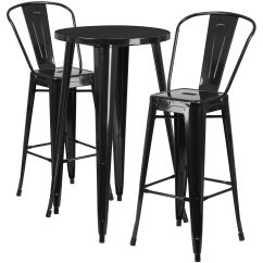 Outdoor Bar Table And Chairs French Club For Sale 24rd Black Metal Set Ch 51080bh 2 30cafe Bk Gg Bizchair Com