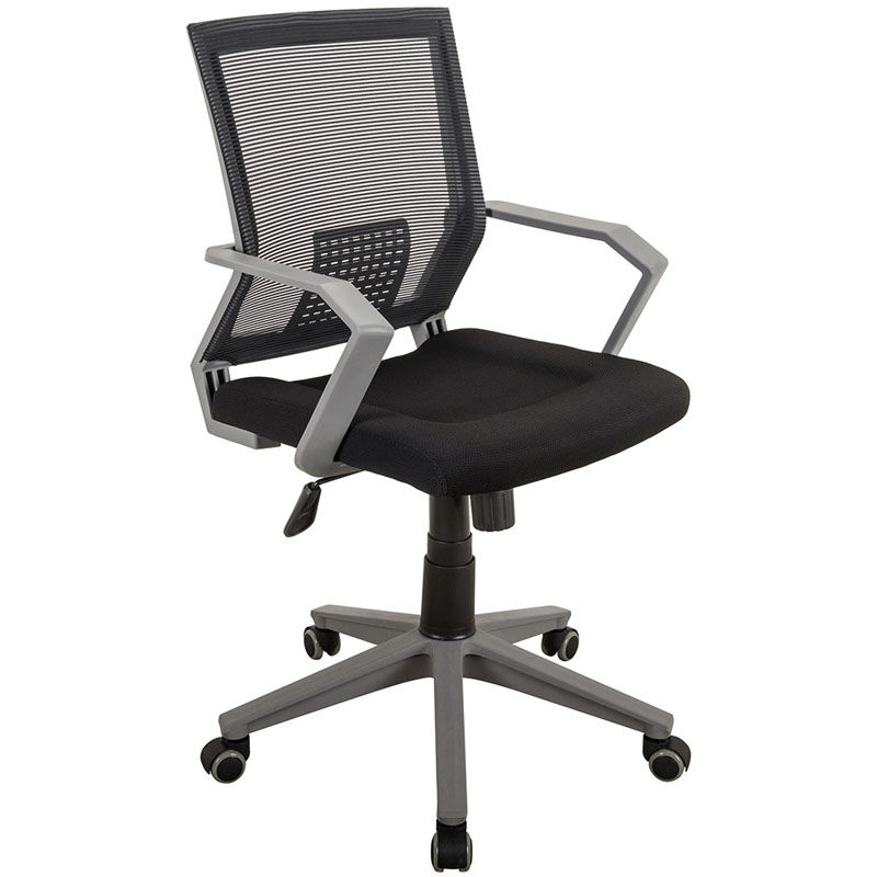 office chair no wheels arms lounge for bedroom rolling mesh task rta 2918 bk bizchair