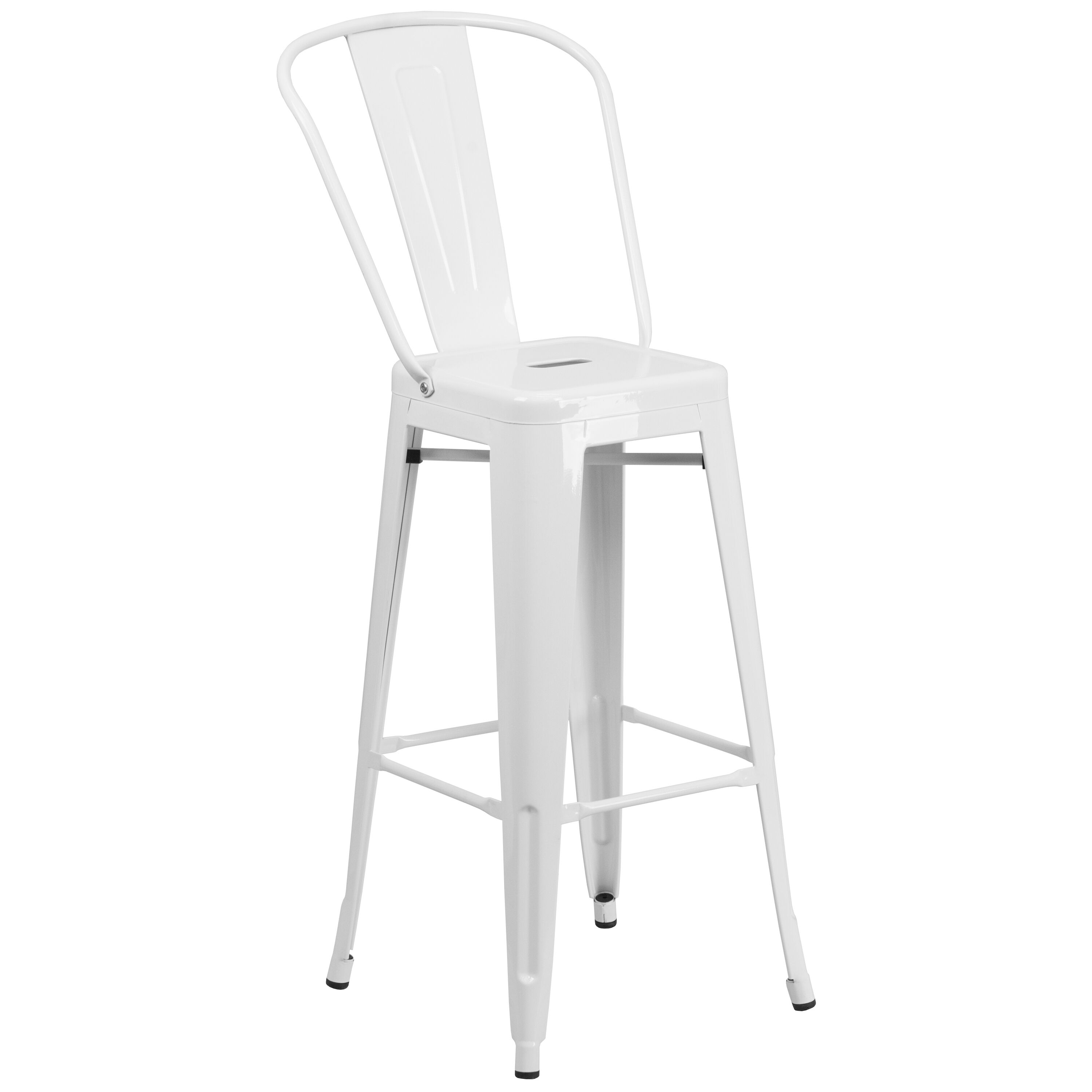 wh gunlocke chair chicco 360 high 30 quot white metal outdoor stool ch 31320 30gb gg