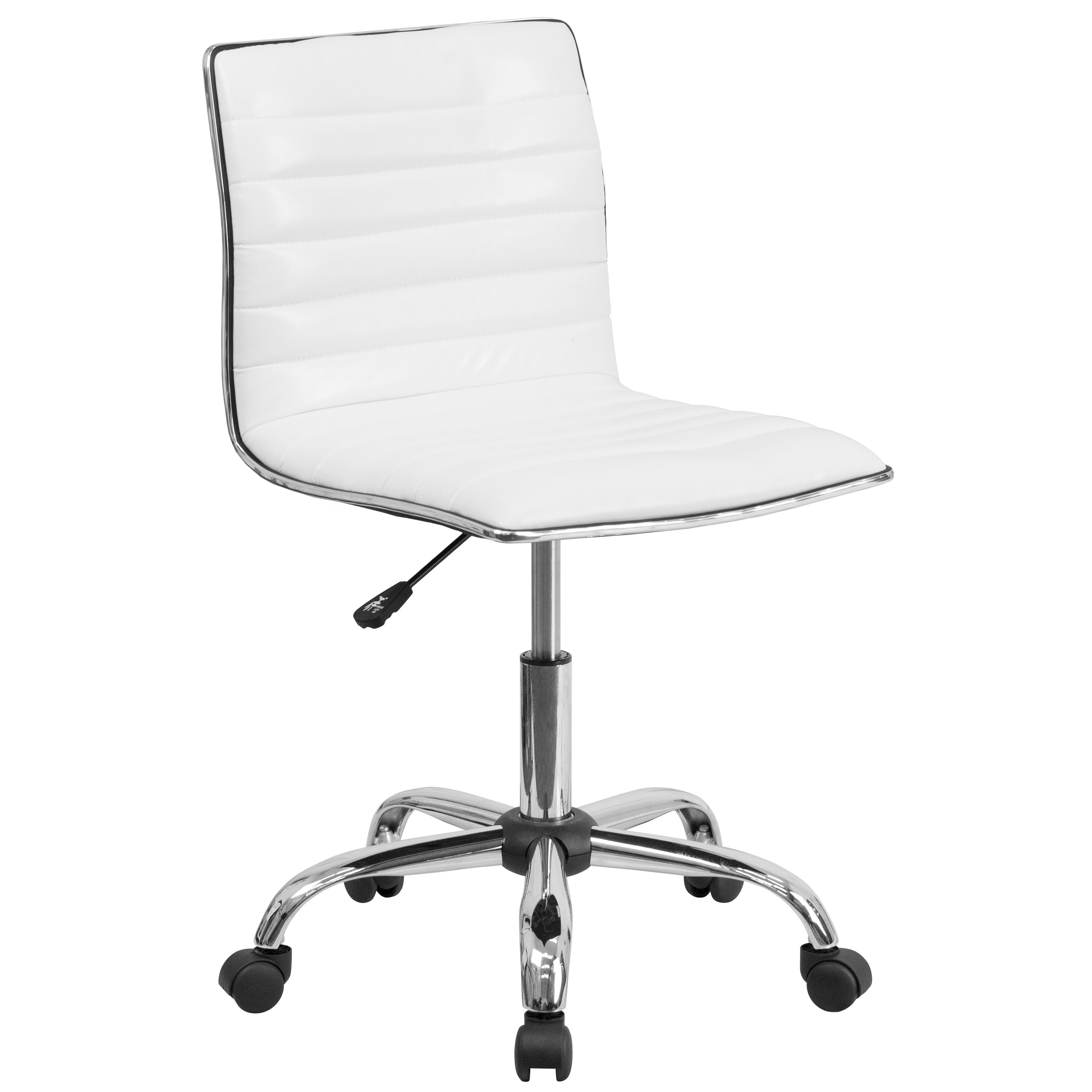 armless chair office sheboygan company white low back task ds 512b wh gg bizchair com our designer ribbed swivel is on sale now