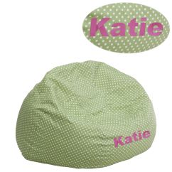 Child Bean Bag Chair Personalized Free Desk Emb Green Dot Dg Small Grn Gg