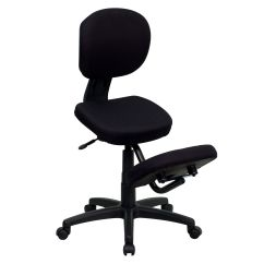 Ergonomic Chair For Short Person Computer Home Black Mobile Kneeler Posture Wl 1430 Gg Bizchair Com Our Kneeling Task Office With Back In Fabric Is On Sale