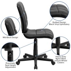 Quilted Swivel Chair Posture Saddle Stool Black Mid Back Task Go 1691 1 Bk Gg Bizchair Com Our Vinyl Office Is On Sale Now