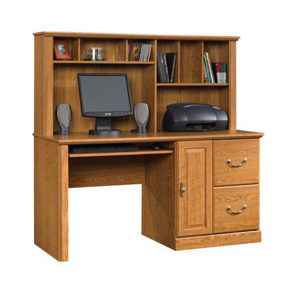 Orchard Hills 58.75'' Computer Desk With Hutch - Carolina Oak Inset 1