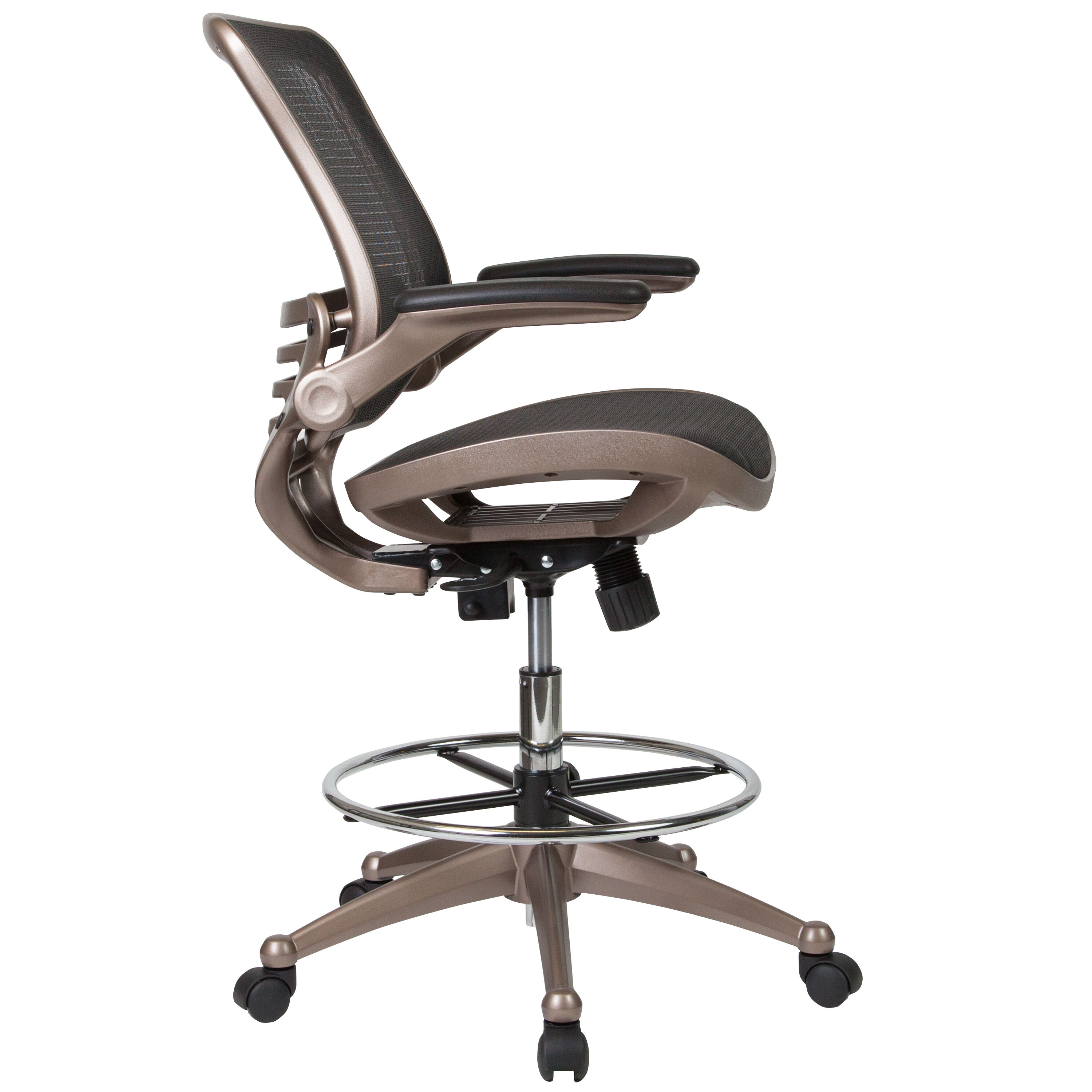 mesh drafting chair swivel desk with no wheels black bl lb 8801x d gg bizchair com our mid back transparent melrose gold frame and flip