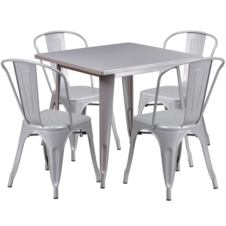 metal dining chairs johannesburg x rocker gaming chair walmart 31 5sq silver table set et ct002 4 30 sil gg