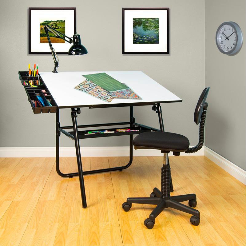 drafting table chairs black spindle back dining 4 piece desk set 32609 bizchair com our ultima includes chair and storage trays is
