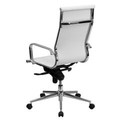 Wh Gunlocke Chair Table And 6 Chairs White High Back Leather Bt 9826h Gg Bizchair