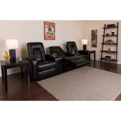 Theater Chairs With Cup Holders Beadboard Chair Rail Black Leather 3 Seat Bt 70259 Bk Gg Bizchair Com