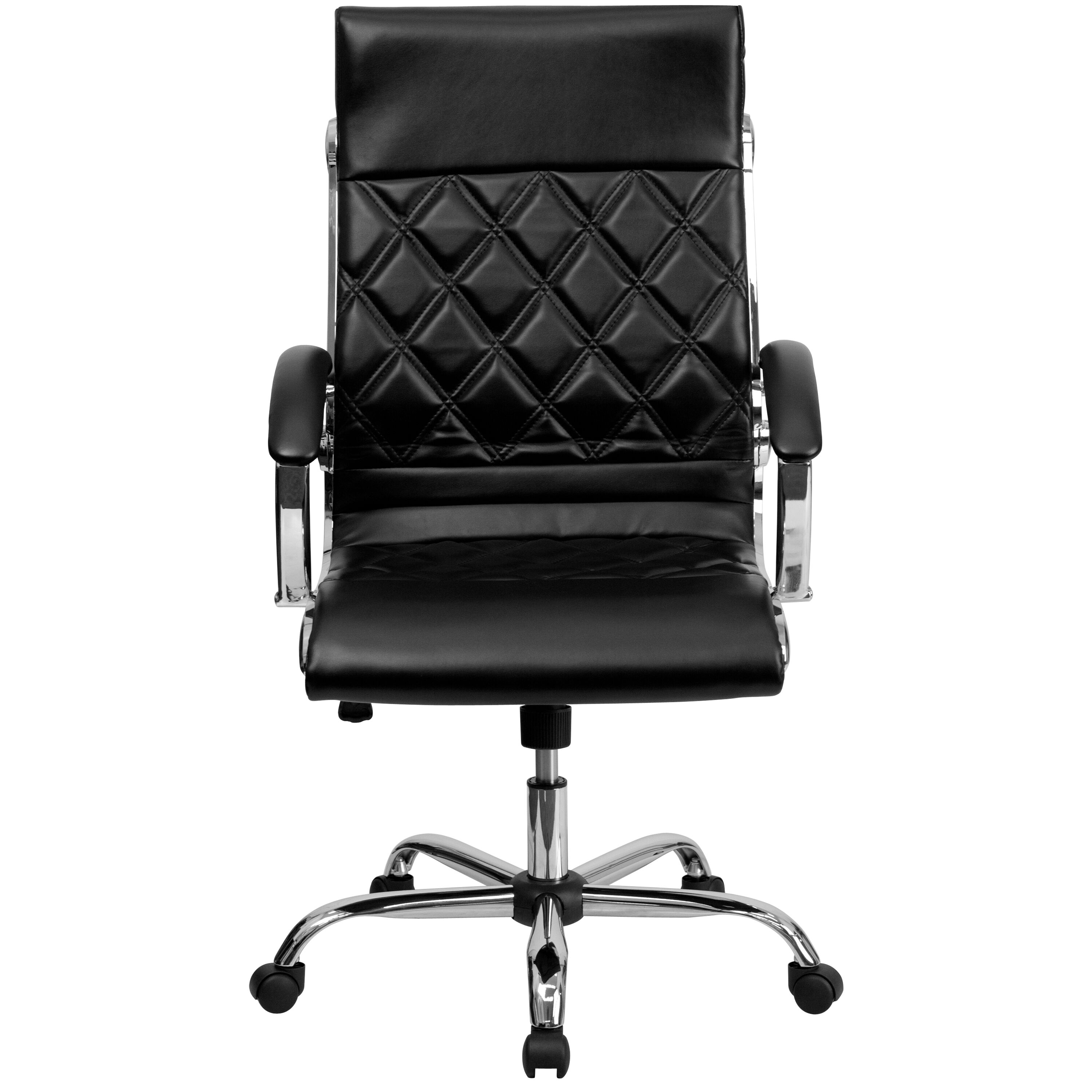 quilted swivel chair plastic outdoor chairs kmart high back designer black leather executive