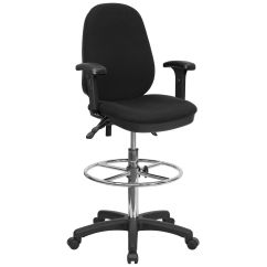 Office Chair With Adjustable Arms Chairs For Party Black Fabric Draft W Arm Kc B802m1kg Gg Bizchair Com
