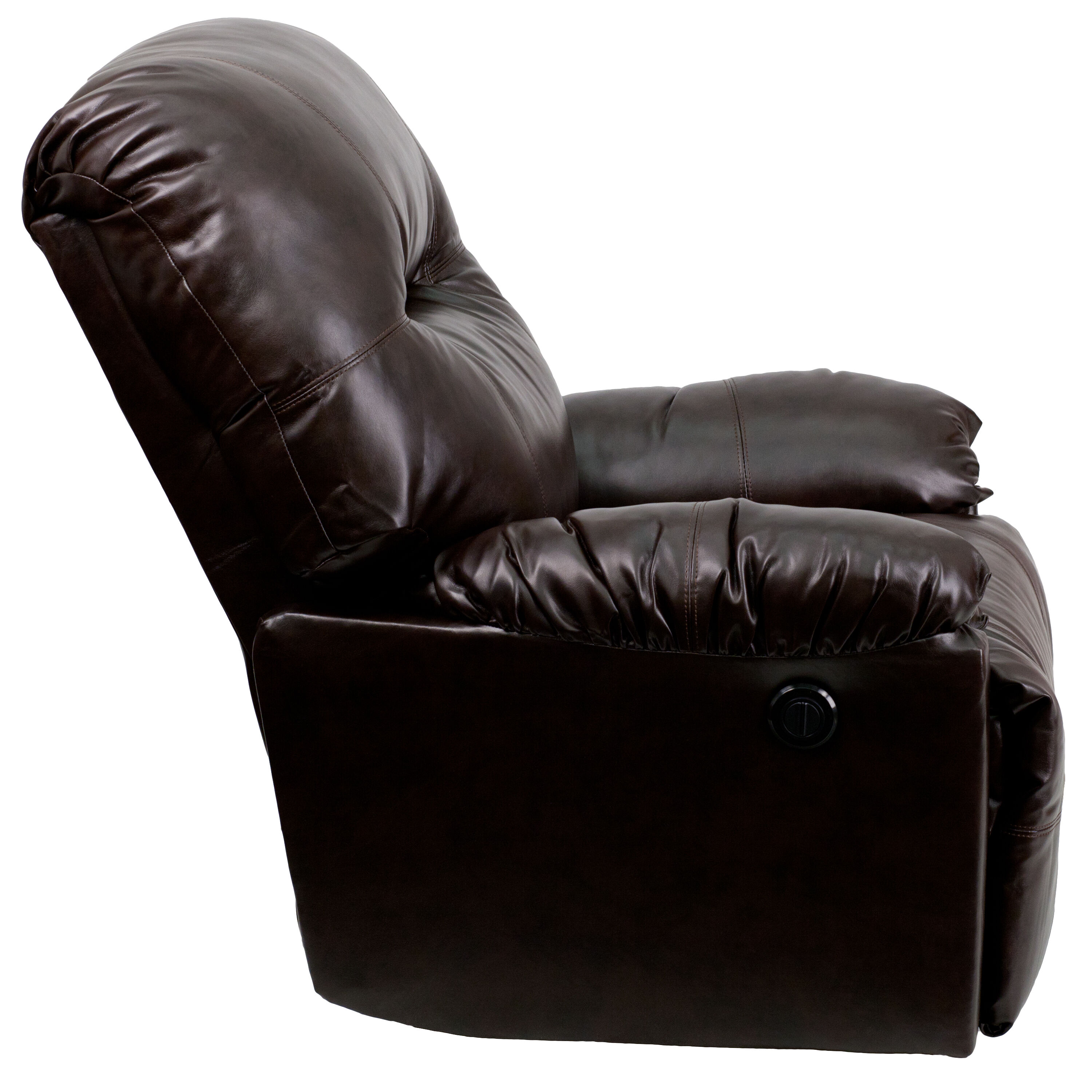 push button recliner chairs glider chair cover brown leather power am cp9350 9075 gg bizchair