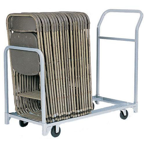folding chair dolly 50 capacity patio webbing material dollies bizchair com folded or stacked tote with push handle