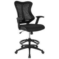 Drafting Chairs With Arms Chicco High Chair Uk Bizchair Com Back Designer Black Mesh Leather Sides And Adjustable