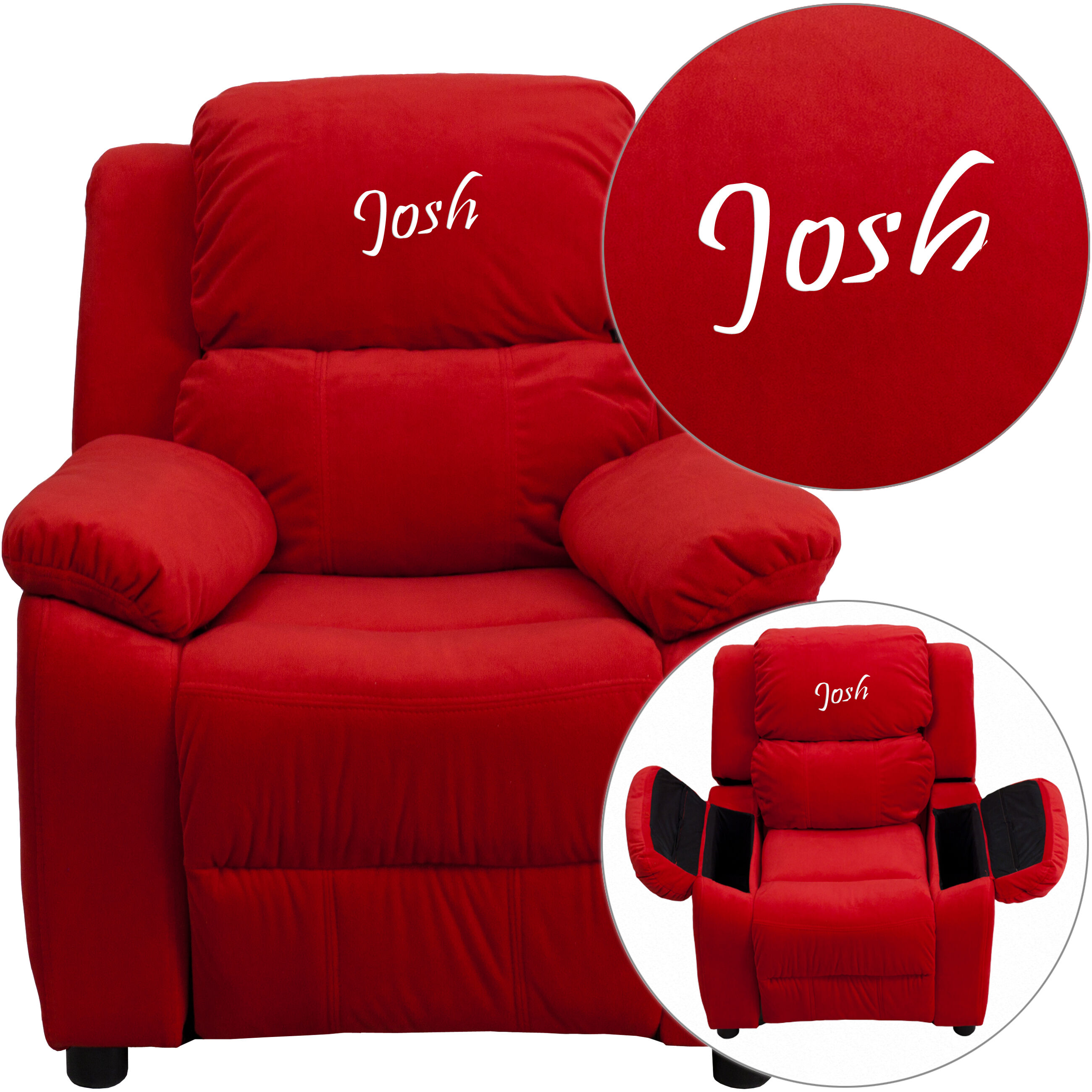 kid recliner chair stool for toddlers emb red mic kids bt 7985 gg