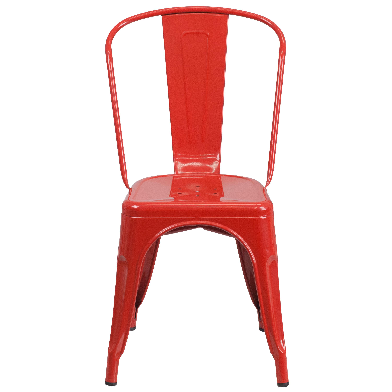Red Metal IndoorOutdoor Stackable Chair  Inset 3