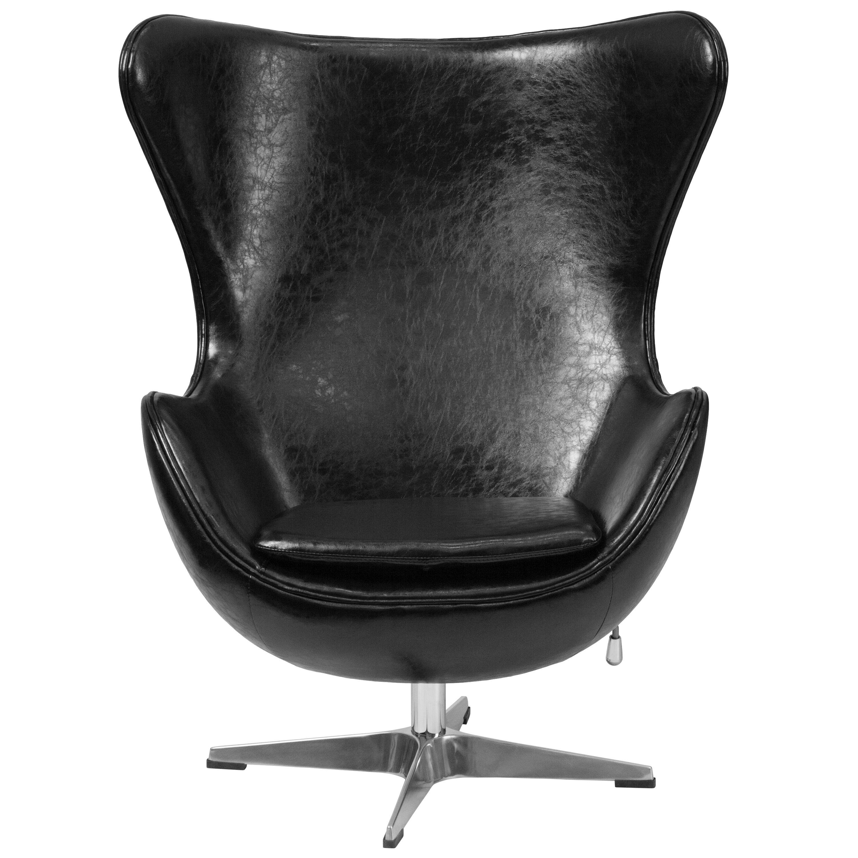 Black Leather Egg Chair with TiltLock Mechanism  Inset 3