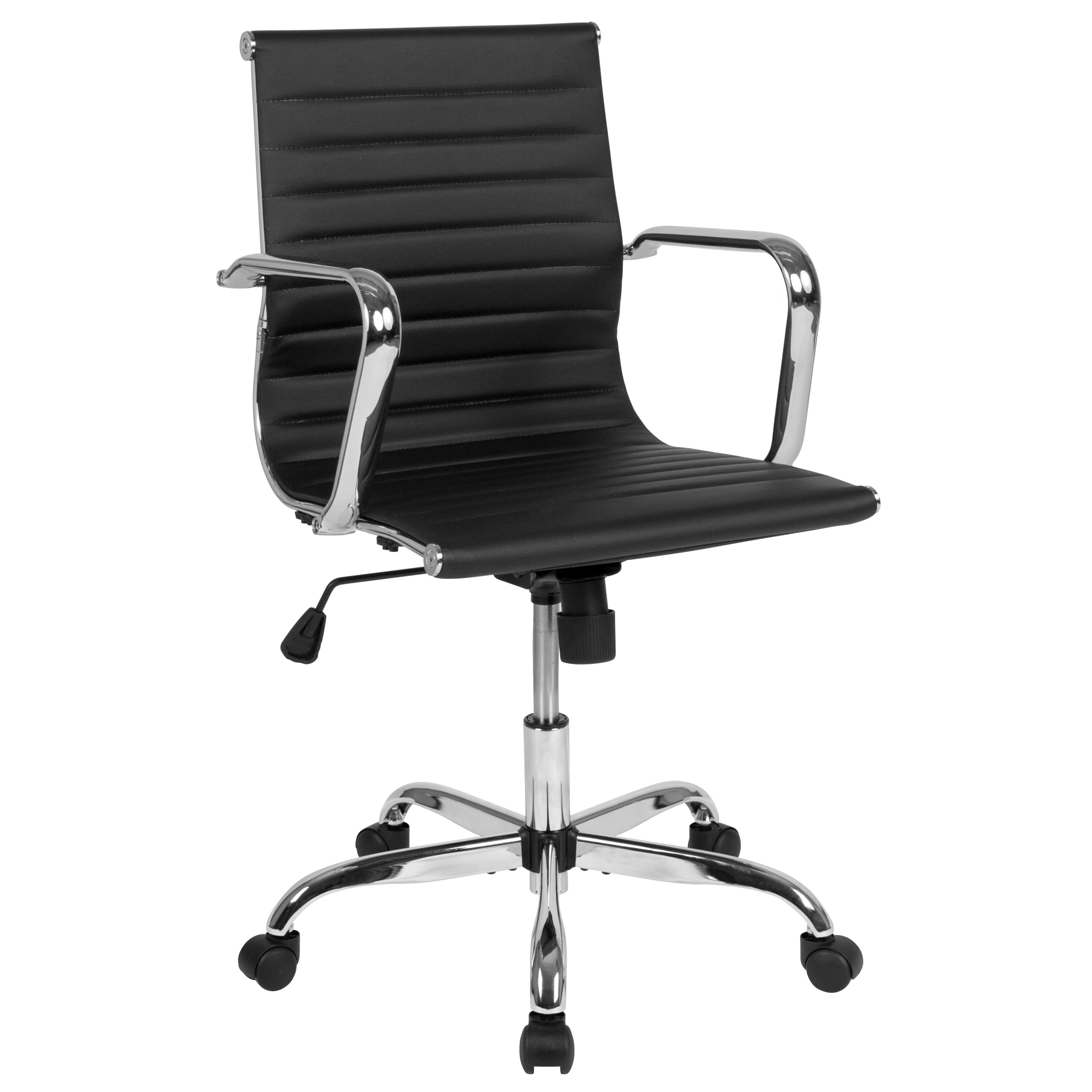 Mid Back Black Leathersoft Mid Century Modern Ribbed Swivel Office Chair With Spring Tilt Control And Arms