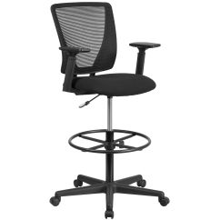 Ergonomic Drafting Chair With Arms Proper Size Exercise Ball Desk Our Mid Back Mesh Black