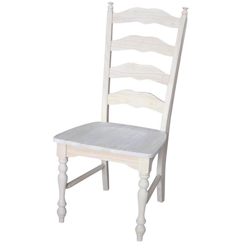 unfinished ladder back chairs how to diy reupholster a chair solid parawood dining c 2170p bizchair