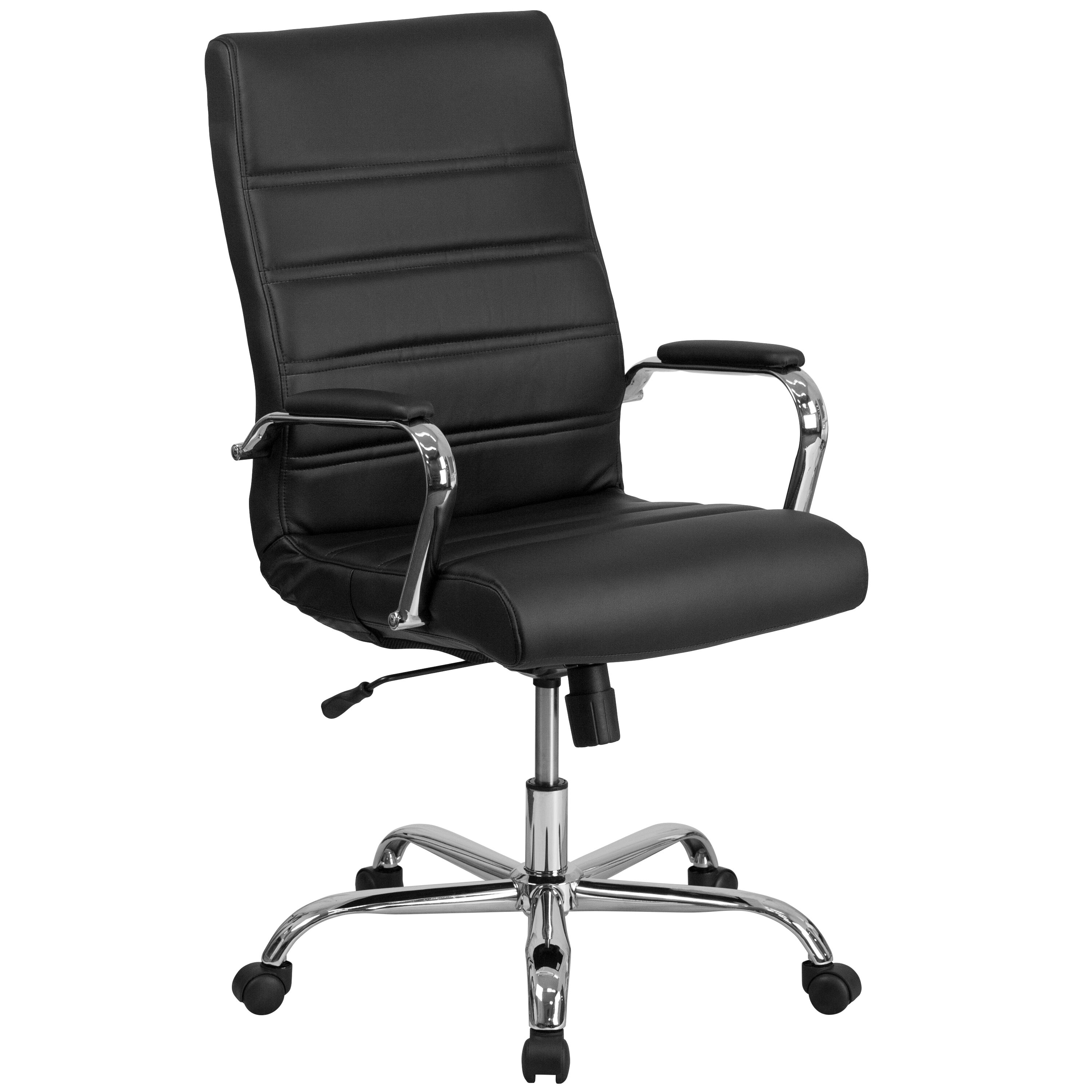 black leather office chair high back red wingback cover go 2286h bk gg bizchair com