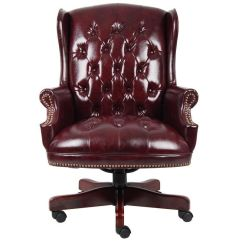 Oxblood Leather Wing Chair Antique High Rocker Value Button Tufted Back B800 By Bizchair