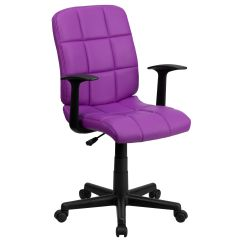 Quilted Swivel Chair Folding Rentals Orlando Mid Back Purple Vinyl Task Office