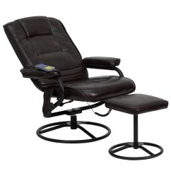 Recliner Vs Chair With Ottoman Striped Slipper Flash Furniture Massaging Brown Leather And