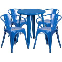 Blue Metal Chairs Chair Covers For Small Dining 24rd Table Set Ch 51080th 4 18arm Bl Gg