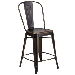 Counter Height Chairs With Back Wood High Chair Distressed Copper Metal Stool Et 3534 24 Cop Gg Bizchair Com