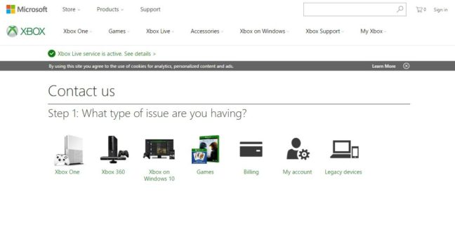 A screenshot of the Xbox contact page