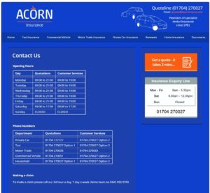 screenshot of the acorn contact number