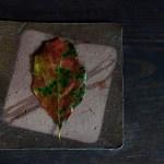 備前角皿 -柿の葉-