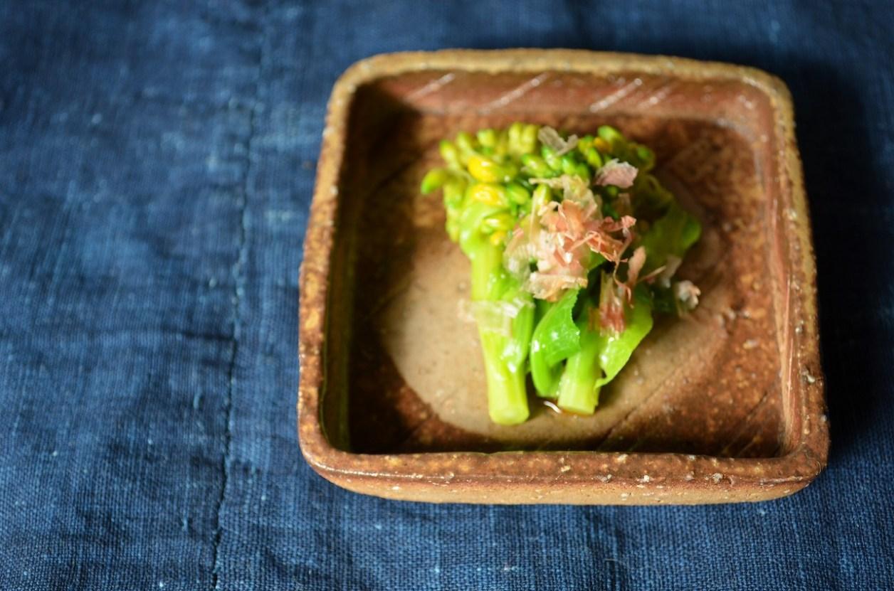 備前正方小皿 Masahiko Kondo -菜の花のおひたし-