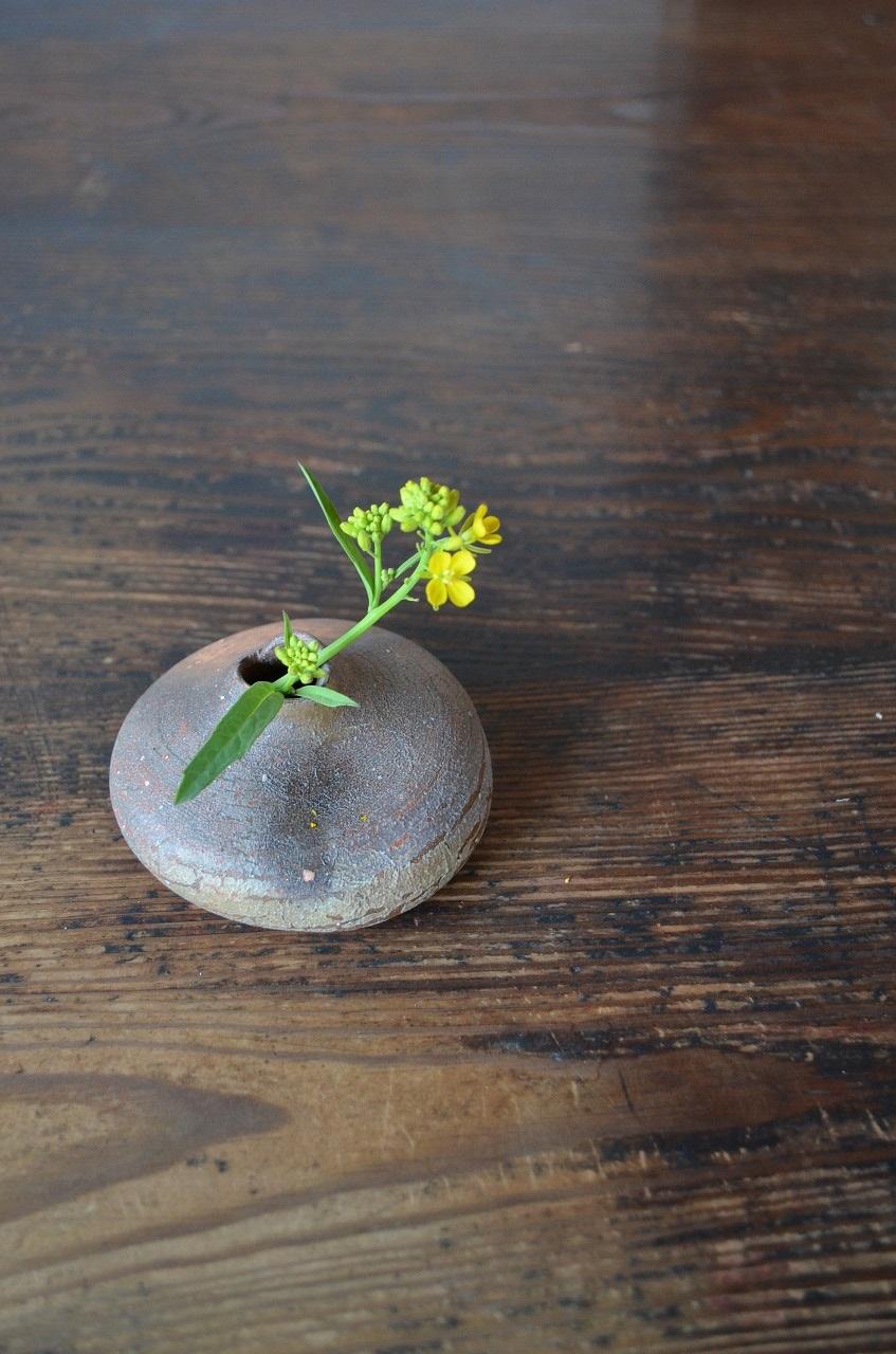 備前ちび花器 Takahiro Hosokawa -菜の花-