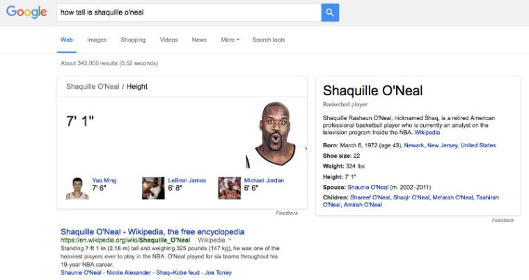 How tall is Shaquille O'Neal - Google search query