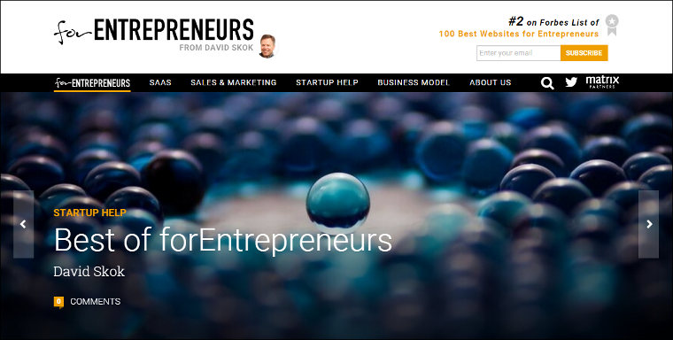 For Entrepreneurs blog screenshot