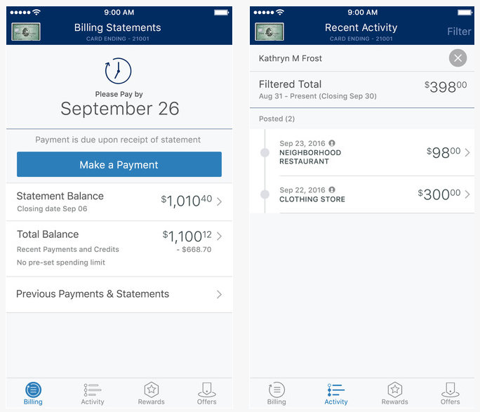 Amex Mobile app screenshot